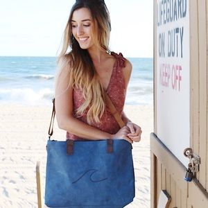 Bags - blue leather tote
